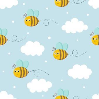 Seamless bees pattern