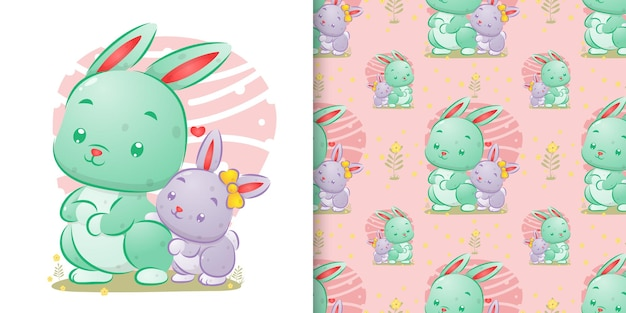 The seamless of the big rabbit standing beside her baby in the cute background of illustration