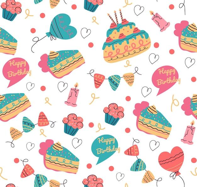 Seamless birthday pattern for print vector design