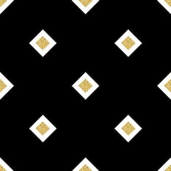 白い背景にシームレスな黒と銀の正方形の輝きのパターン