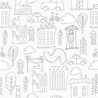 도시와 원활한 흑백 배경
