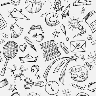 Бесшовный черно-белый узор на школьную тему с элементами дизайна