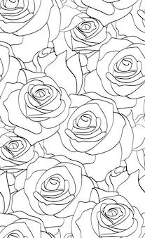 Бесшовный черно-белый узор с розами для вашего творчества