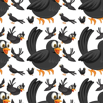 Seamless black birds flying