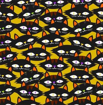 黄色の背景にシームレスな黒い猫のパターン