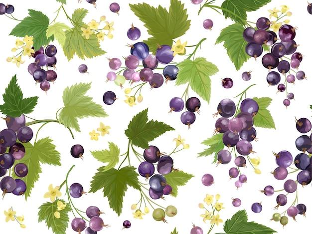 Бесшовный узор из черной смородины с летними ягодами, фруктами, листьями