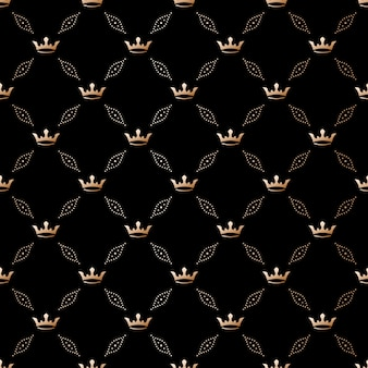 Seamless  black pattern with king crowns on a black background.