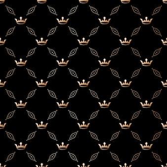 黒の背景に王冠とシームレスな黒のパターン。