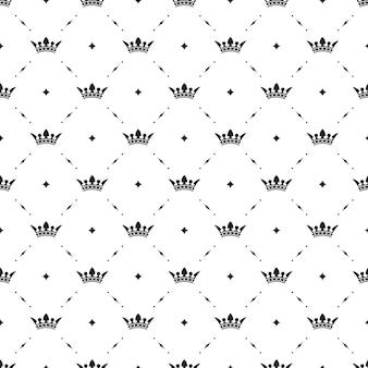 白い背景の上の王冠とのシームレスな黒のパターン。ベクトルイラスト