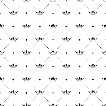 Безшовная черная картина с коронами короля на белой предпосылке. векторная иллюстрация