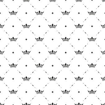 Seamless  black pattern with king crowns on a white background. vector illustration
