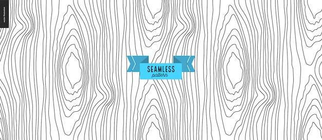 Seamless black and white hand drawn wood pattern