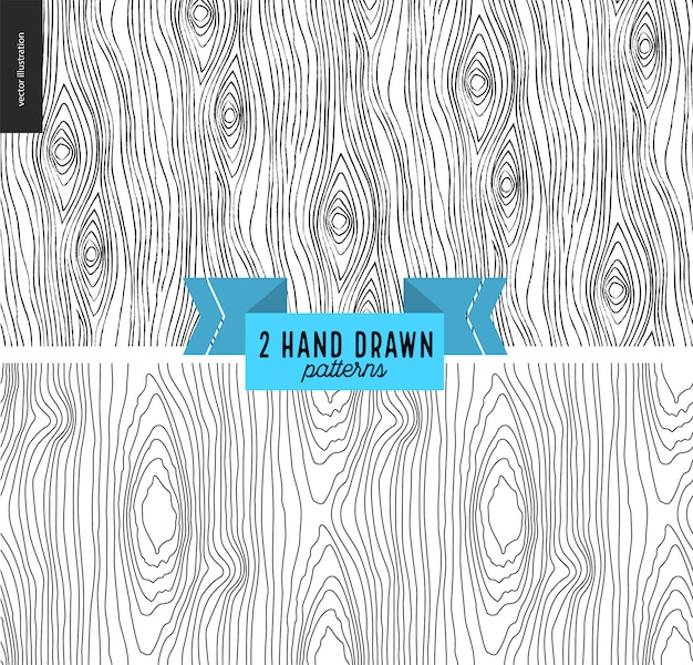 Seamless black and white hand drawn wood pattern