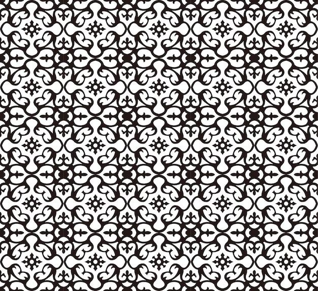 シームレスなブラックホワイトスパイラル万華鏡花柄