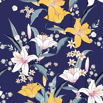 Seamless blooming  pattern with white and pink lilly vector