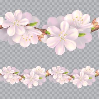 원활한 꽃 테두리입니다. 부드러운 분홍색 꽃 반복 패턴. 현실적인 봄 그림입니다. 가로 꽃 디자인 배경입니다.