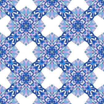 ベクトルのシームレスな青いアクアアステカヴィンテージ民俗背景パターン。