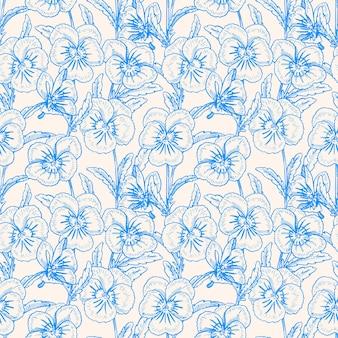 きれいなパンジーとシームレスな青い背景。手描きイラスト