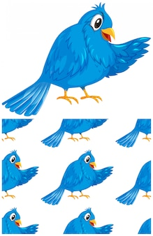 Seamless blue bird pattern isolated on white