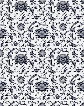 Seamless blue damask pattern.