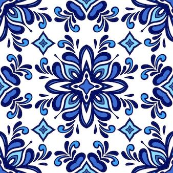 シームレスな青の民族の抽象的なパターン幾何学的な青と白の壁タイルのデザイン