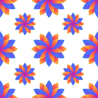 Seamless blue and orange gradient flowers abstract pattern