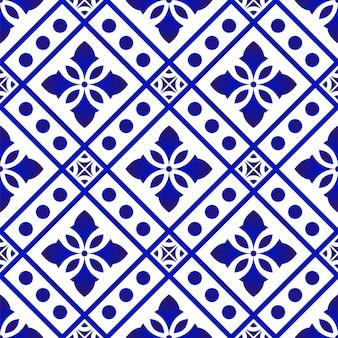Бесшовный синий узор вектор