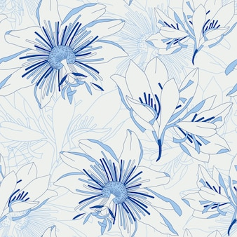 Seamless blue pattern with flowers lily