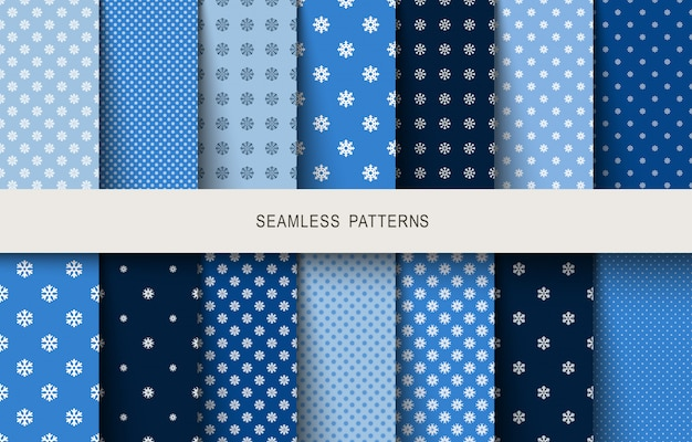 Seamless blue snowflake pattern.