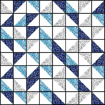 Seamless blue triangle glitter shape pattern background