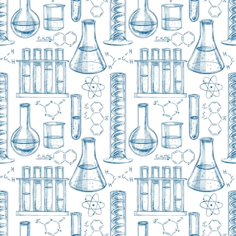 Seamless blue and white background with chemical equipment and formulas. hand-drawn illustration