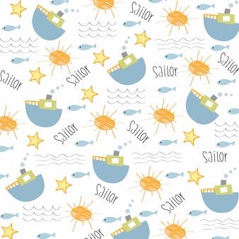 Seamless boat pattern