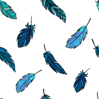 Seamless boho pattern created from feathers