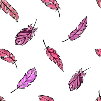 Seamless boho pattern from sketched feathers