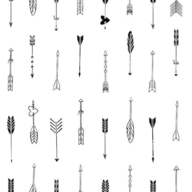Seamless boho pattern of sketched arrows