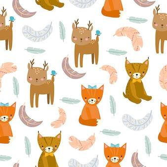 동물과 깃털과 원활한 boho 패턴