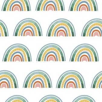 미니멀한 스칸디나비아 요소가 있는 원활한 보헤미안 무지개 패턴