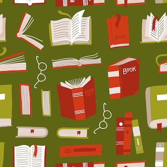 Seamless book pattern. differernt books with glasses.