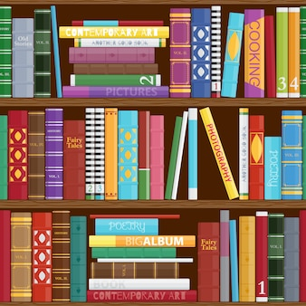 Seamless book shelves background.