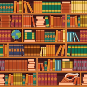 Seamless books  illustration of vintage retro academic bookshelve pattern for bookstore and library background or wallpaper.