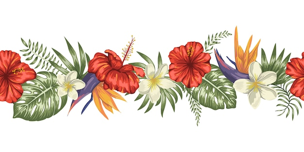Seamless border brush of green tropical leaves with plumeria, strelitzia and hibiscus flowers on white background.