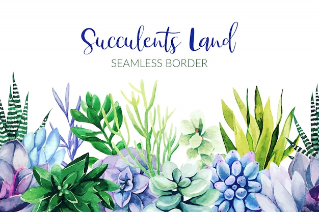 Seamless border composed of green and violet succulent plants
