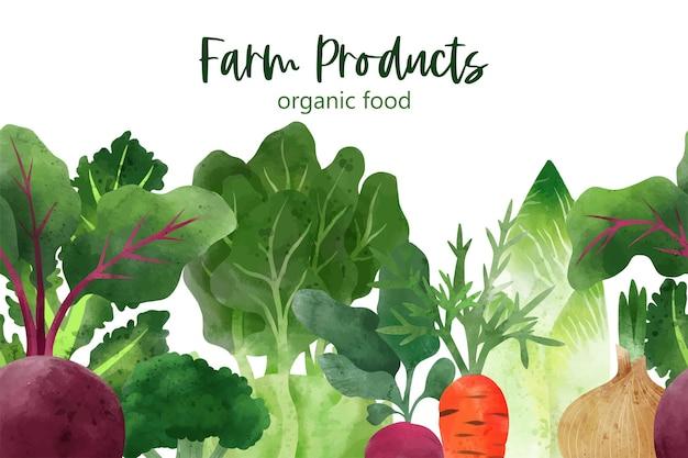 Бесшовная рамка из свежих овощей и зелени