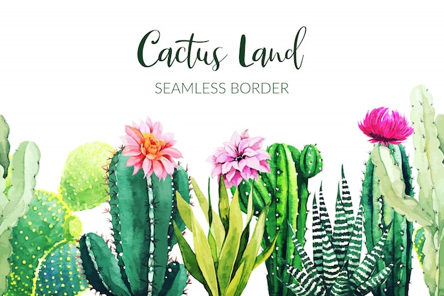 Seamless border composed of watercolor cactus plants