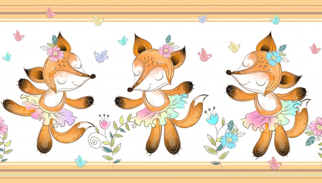Seamless border. foxes ballerina dancing.