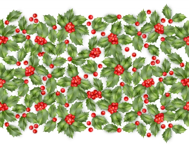 Seamless border from christmas holly berry.