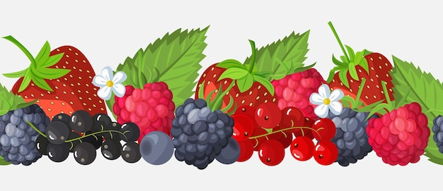 Seamless border of fruits and berries