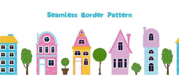 Seamless border pattern with cartoon houses, trres,