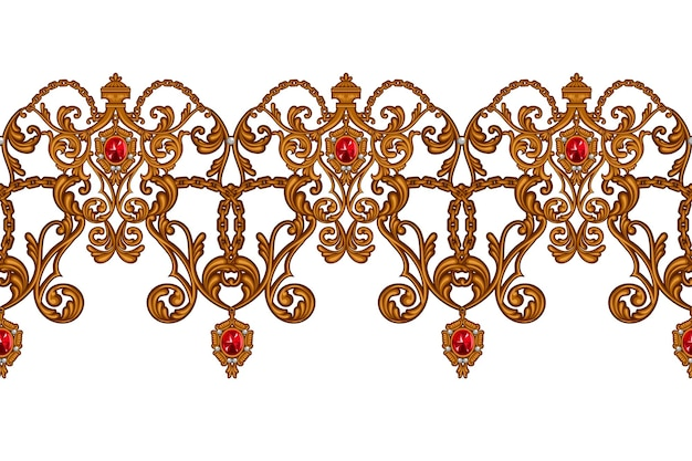 Seamless border in rococo style with golden scrolls and rubies