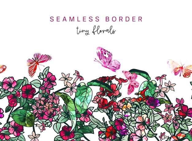 シームレスな境界線、小さな花、背景にアルコールインクのテクスチャ